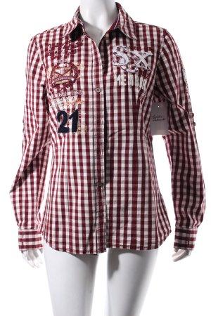 Soccx Langarmhemd bordeauxrot-weiß Karomuster sportlicher Stil