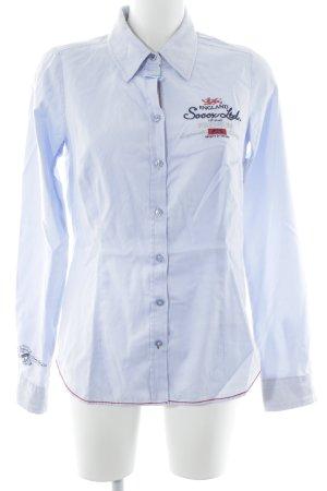 Soccx Langarmhemd himmelblau-dunkelrot Schriftzug gestickt Business-Look