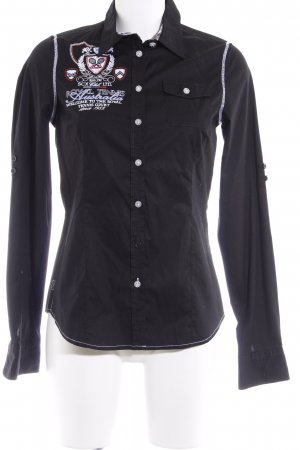 Soccx Chemise à manches longues noir style décontracté
