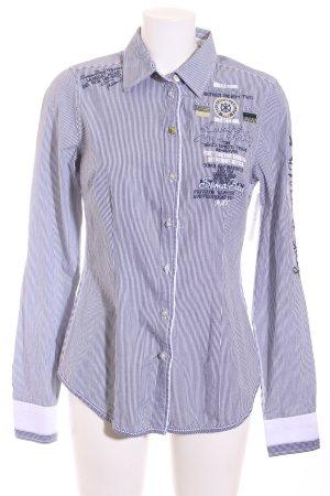 Soccx Langarmhemd weiß-schwarz Streifenmuster Casual-Look