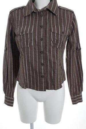 Soccx Blusa in lino marrone-bianco motivo a righe stile casual