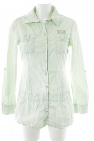 Soccx Long-Bluse blassgrün Motivdruck Casual-Look
