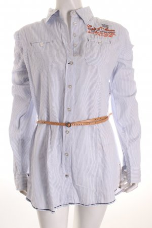 Soccx Long-Bluse weiß-hellblau Streifenmuster Street-Fashion-Look