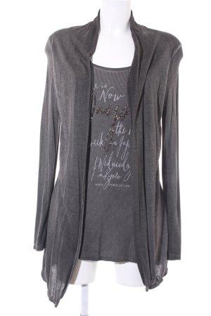 Soccx Oversized Shirt dunkelgrau-grau Schriftzug gedruckt Casual-Look