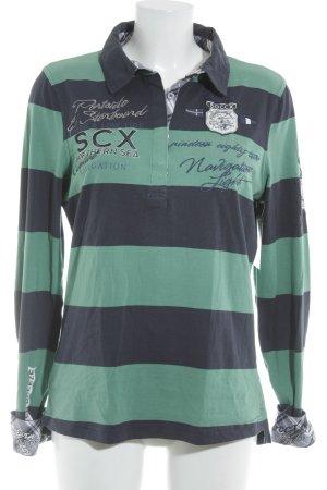 Soccx Polo-Shirt dunkelblau-mint Schriftzug gestickt klassischer Stil
