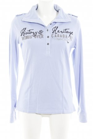 Soccx Polo-Shirt himmelblau Schriftzug gedruckt Casual-Look