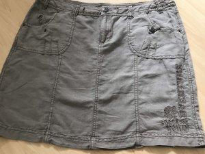 Soccx Falda de lino marrón grisáceo-caqui