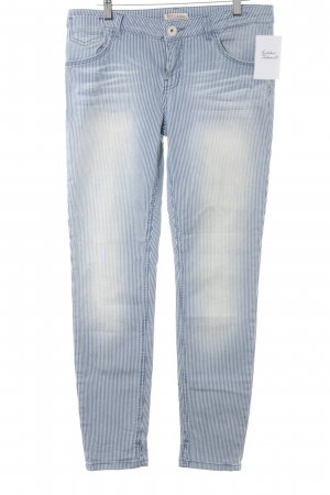 Soccx Skinny Jeans stahlblau-weiß Streifenmuster Casual-Look