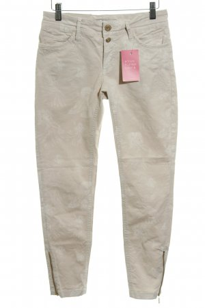 Soccx Slim Jeans creme-wollweiß florales Muster Casual-Look