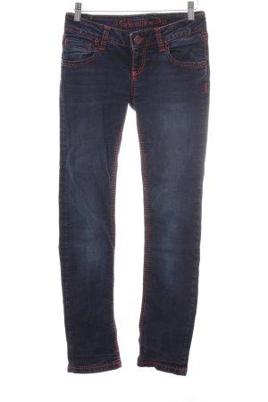 Soccx Slim Jeans dunkelblau-rot Casual-Look