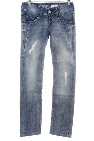 Soccx Slim Jeans stahlblau-himmelblau Destroy-Optik