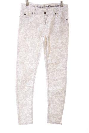 Soccx Slim Jeans weiß-hellgrau abstraktes Muster Casual-Look