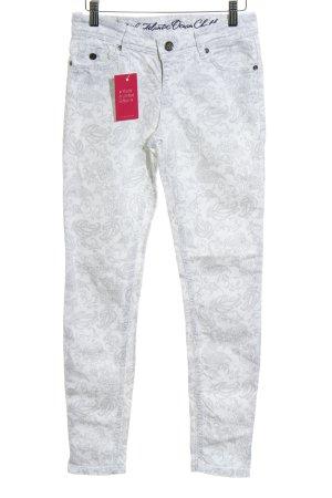 Soccx Slim Jeans weiß-hellgrau florales Muster Casual-Look