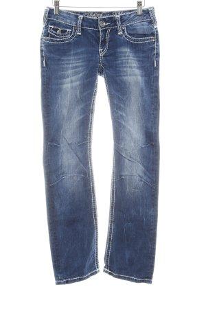 Soccx Straight-Leg Jeans blau-weiß Casual-Look