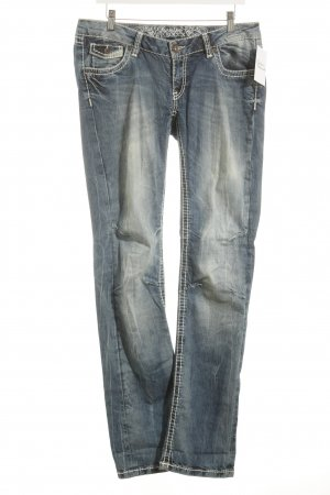 Soccx Straight-Leg Jeans blau-wollweiß Used-Optik