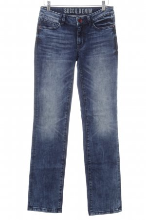 Soccx Straight-Leg Jeans dunkelblau-weiß Casual-Look