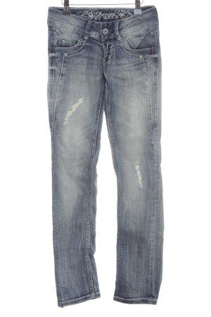 Soccx Straight-Leg Jeans graublau Destroy-Optik