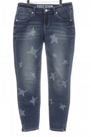 Soccx Stretch Jeans dunkelblau Sternenmuster Casual-Look