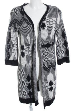 Soccx Strick Cardigan schwarz-weiß Aztekenmuster Kuschel-Optik