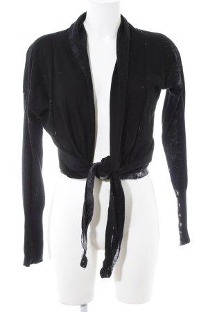 Soccx Strickwickeljacke schwarz-wollweiß Farbtupfermuster schlichter Stil