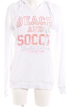 Soccx Sweatshirt weiß-hellrot Schriftzug gedruckt Casual-Look