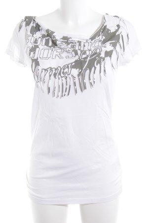 Soccx T-Shirt weiß-grüngrau grafisches Muster sportlicher Stil