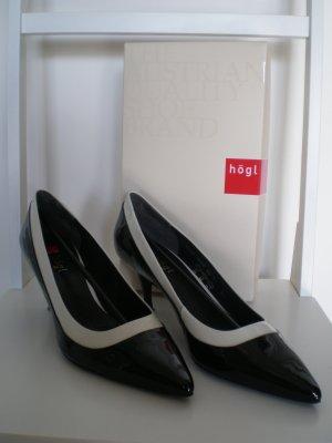 Softlackleder-Pumps, Pfennigabsatz, schwarz/offwhite, wie neu! 1x getragen
