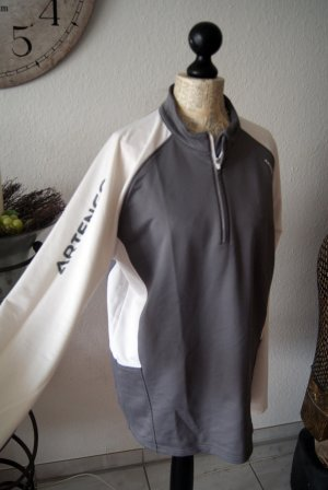 Decathlon Pullover in pile bianco-grigio Tessuto misto