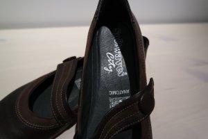 Softwaves Strappy Ballerinas dark brown-black leather