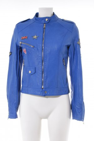Softy Kunstlederjacke blau Party-Look