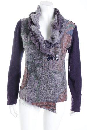 Soggo Strickjacke dunkelviolett-grauviolett Mustermix Vintage-Look