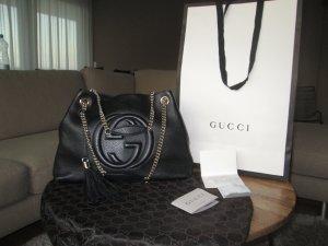 Gucci Handbag black-beige leather