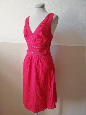 Solar Sommerkleid Kleid V- Ausschnitt rot Baumwolle Gr. 34 XS Kleid knielang Midikleid
