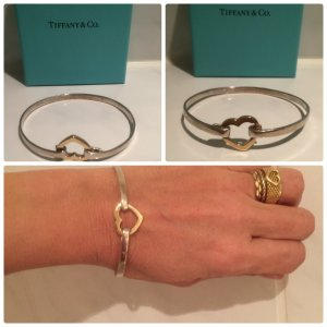 SOLD OUT Tiffany & Co 18k Gold & .925 Sterling Silver Open Heart Bangle Bracelet