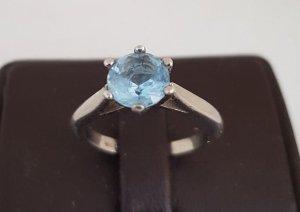 Solitär Aquamarin Ring 925 Sterling Silber echtsilber gestempelt Punze Vintage