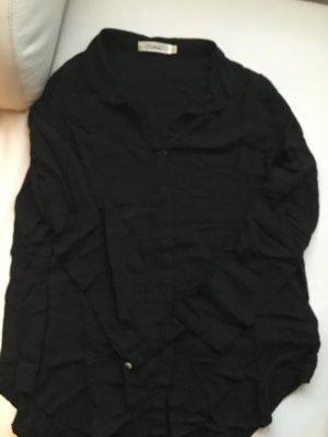 SOLITAIRE Bluse Hemdbluse, langarm, schwarz mit verdeckter Knopfleiste, Gr. 44, NEU und ungetragen