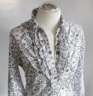 sòliver Bluse mit Rüschen Gr.: 44 XL Blau Weiß Khaki Blumen Ornamente Tee Baumwolle