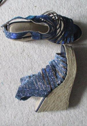Soliver Sandaletten mit Keil, Glitzer blau, Gr. 40, NEU