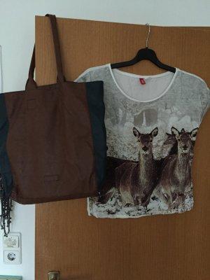 sOliver Tasche Leder braun mit Shirt von H&M Gr. 40