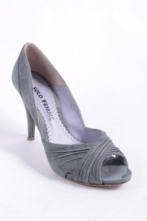 Solo Femme Peeptoe Pumps grüngrau Street-Fashion-Look