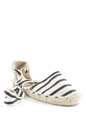 SOLUDOS Espadrille sandalen licht beige-zwart gestreept patroon Beach-look