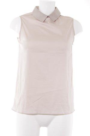 Soluzione ärmellose Bluse altrosa-beige Materialmix-Look
