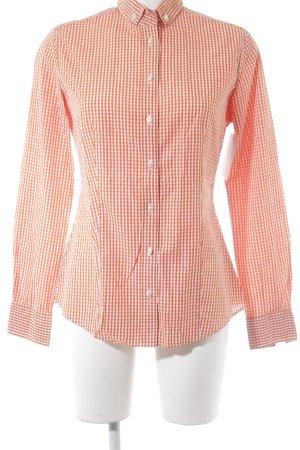 Soluzione Langarmhemd orange-weiß Karomuster Casual-Look