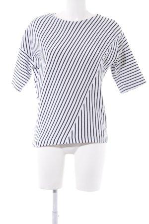 someday Kurzarmpullover weiß-schwarz Streifenmuster Casual-Look
