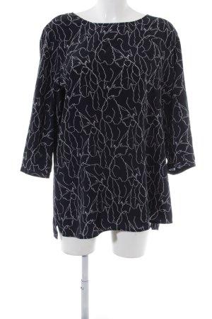 someday Langarm-Bluse dunkelblau-wollweiß florales Muster Elegant