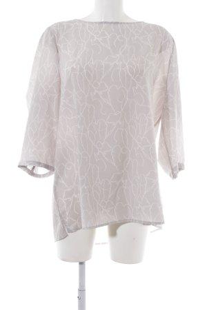 someday Langarm-Bluse hellgrau-weiß florales Muster Elegant