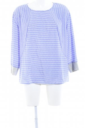someday Langarm-Bluse weiß-blau abstraktes Muster Casual-Look