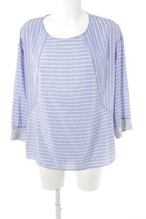 someday Langarm-Bluse weiß-stahlblau abstraktes Muster Casual-Look