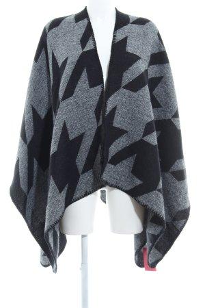 someday Poncho negro-gris oscuro estampado con diseño abstracto