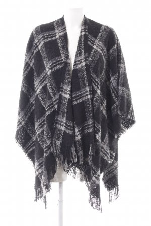 someday Strickponcho schwarz-weiß Karomuster Casual-Look